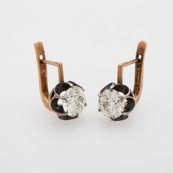 Earrings / stud earrings m. 2 old European cut diamonds - photo 6