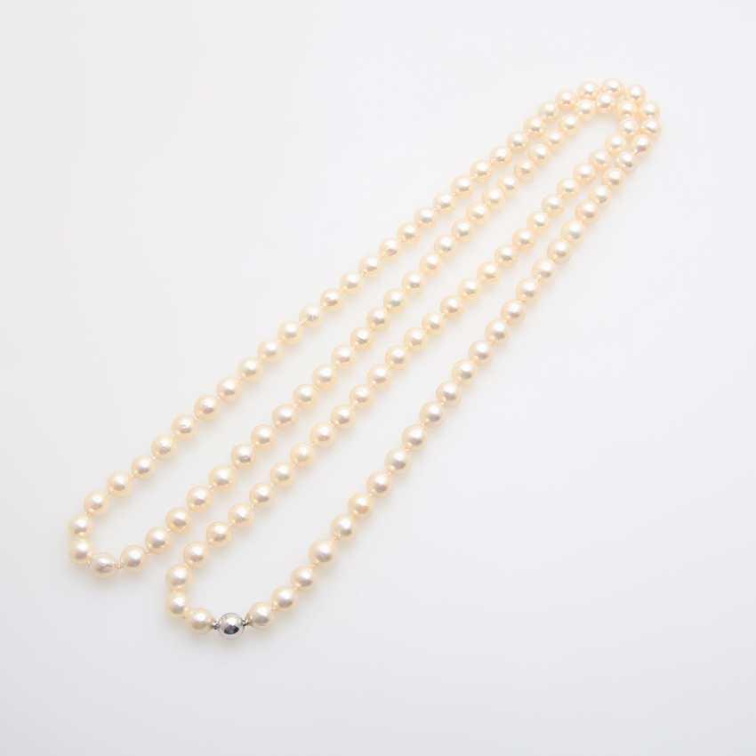 Necklace, cream color. Cultured pearls - photo 4