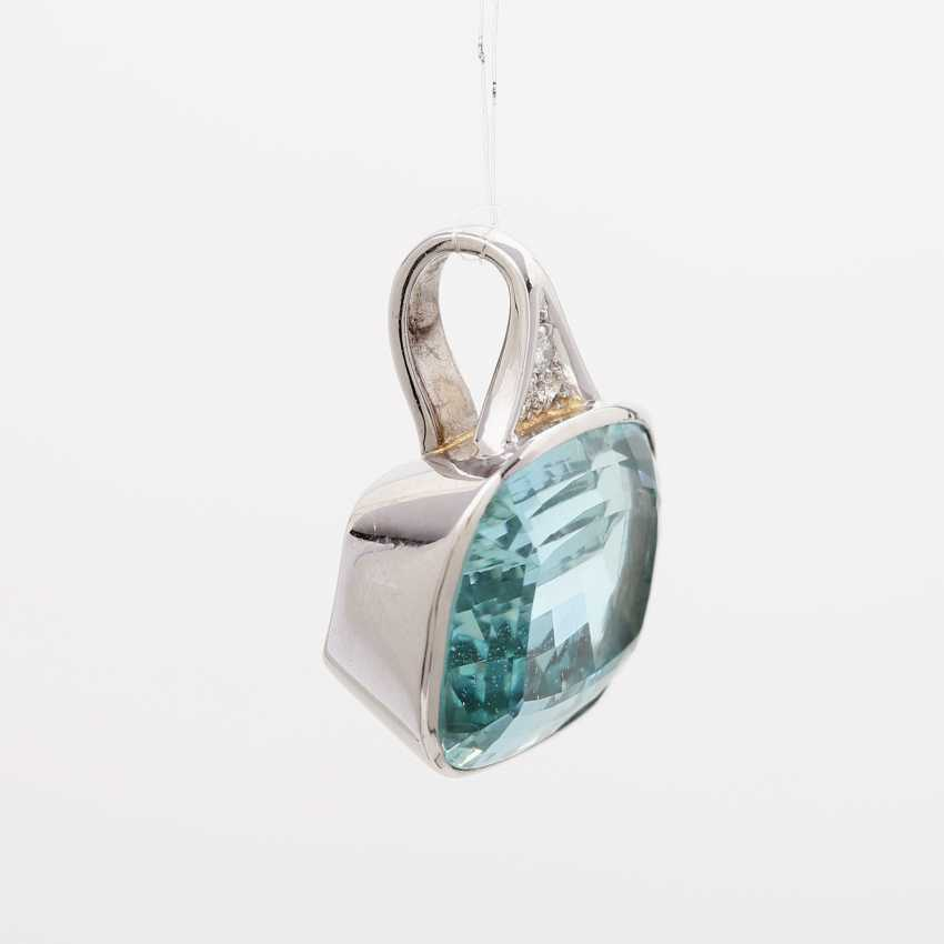 Pendant with 1 aquamarine; - photo 2