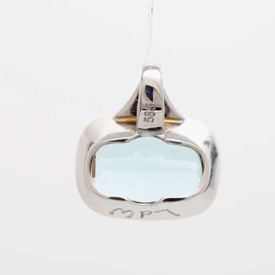 Pendant with 1 aquamarine; - photo 4