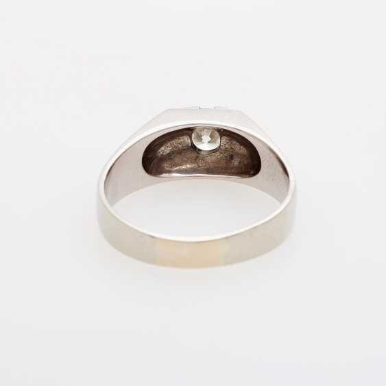 Mens solitaire ring with 1 diamond, about 0.9 ct; - photo 4