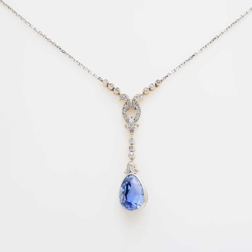 Necklace with fine sapphire drops faceted. approx. 4,1 ct; - photo 3