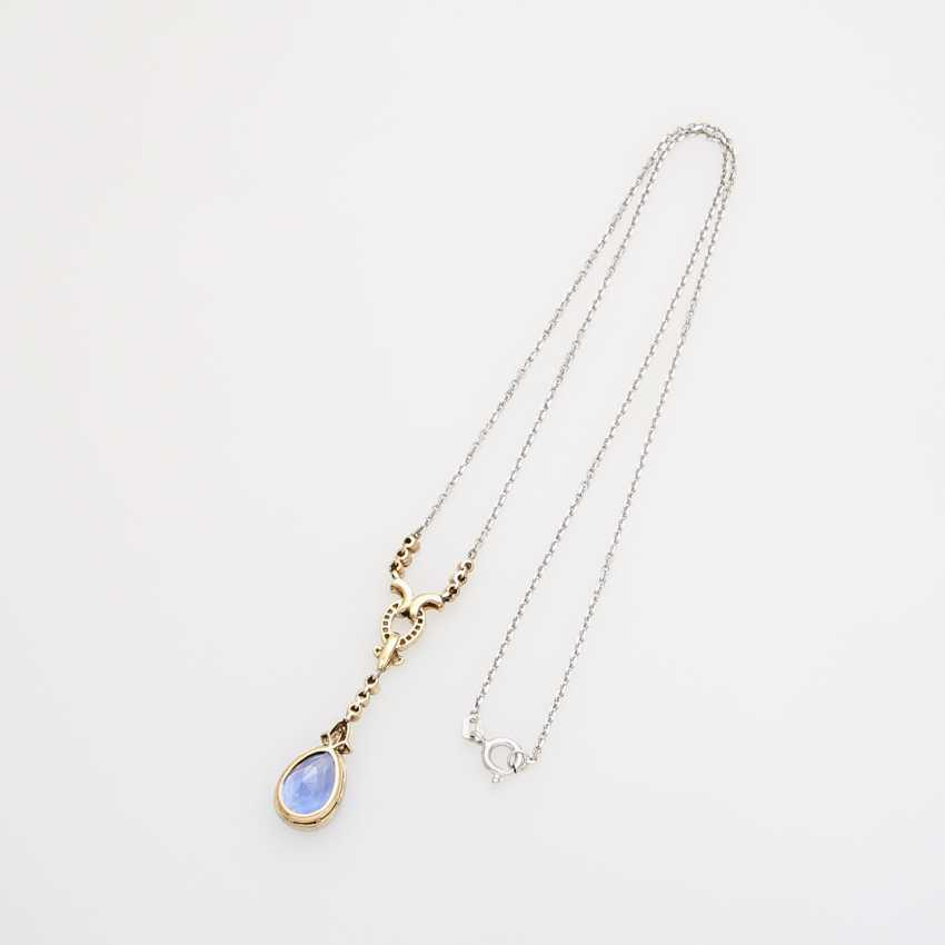 Necklace with fine sapphire drops faceted. approx. 4,1 ct; - photo 4