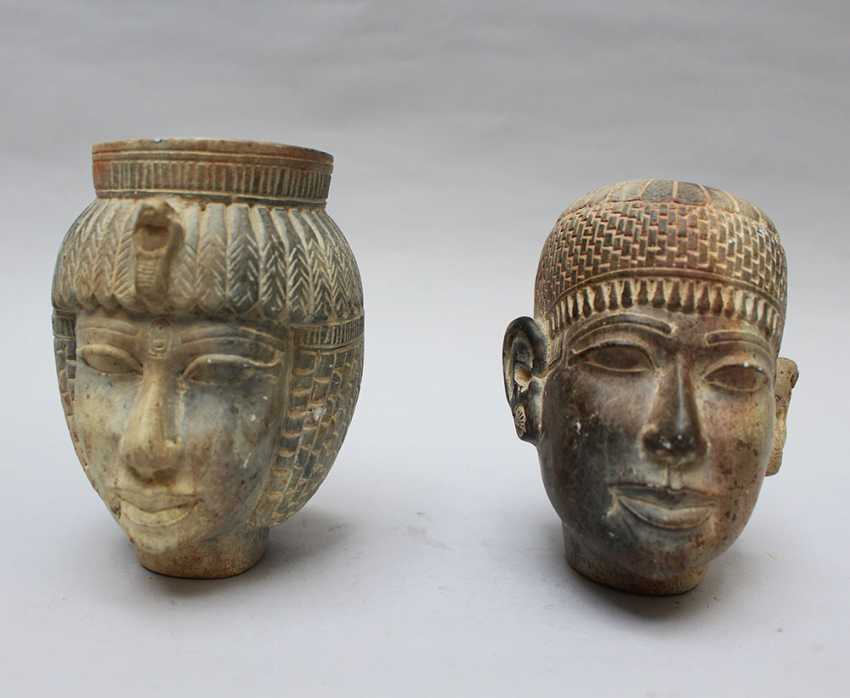 Two Stone Heads in Egyptian Taste - photo 2