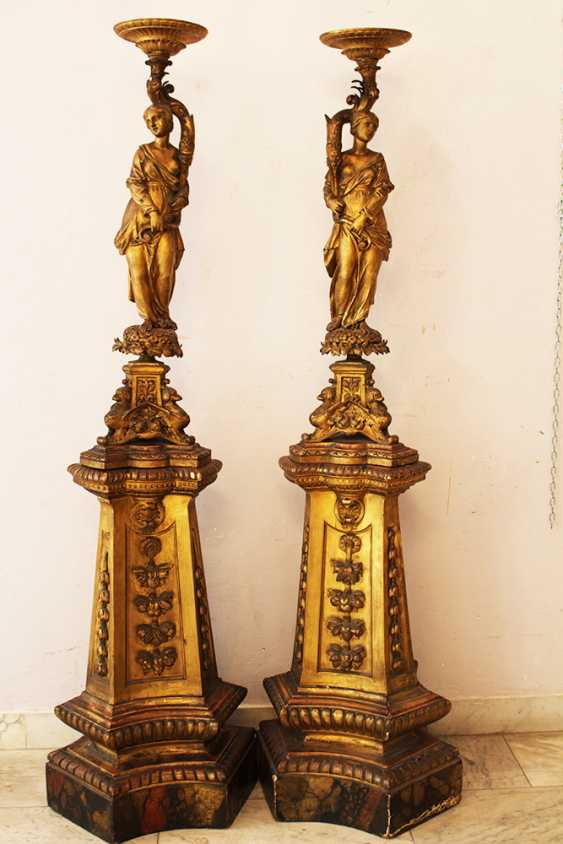 Pair of Genoese Palace Hall  lamp Stands  - photo 1