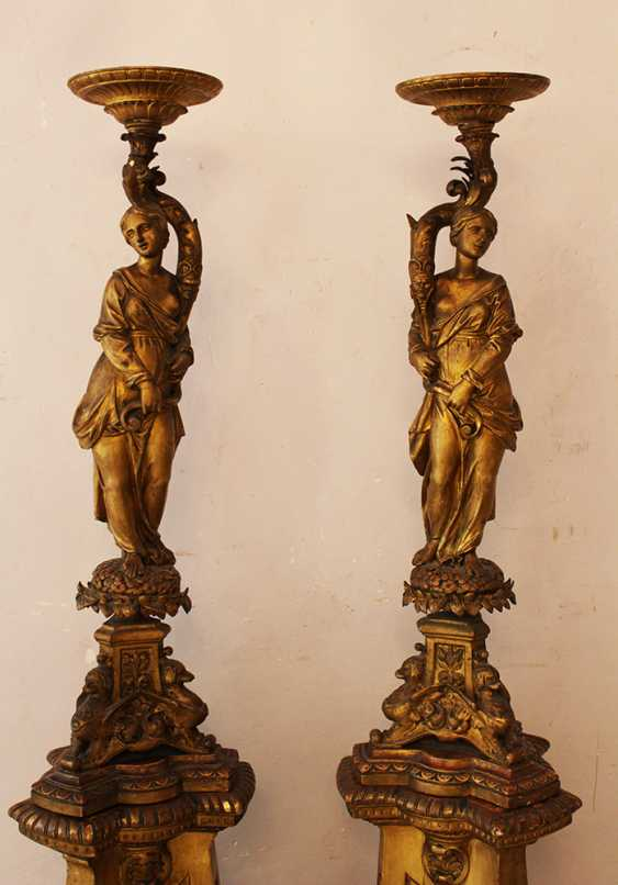 Pair of Genoese Palace Hall  lamp Stands  - photo 2