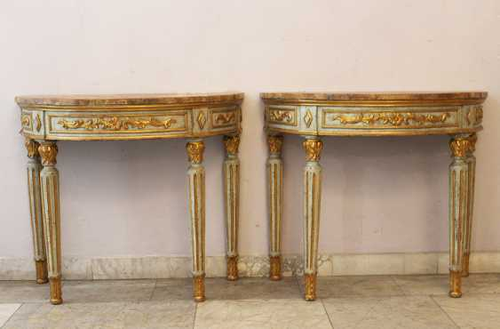 Pair of Demi Lune Consoles  - photo 1