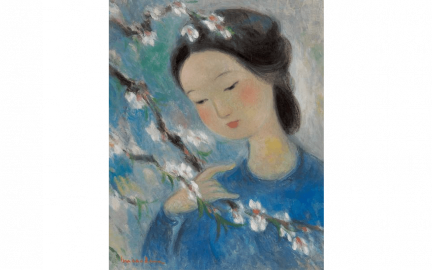 CAO DAM VU (1908-2000) Woman with branch of cherry Oil - photo 1