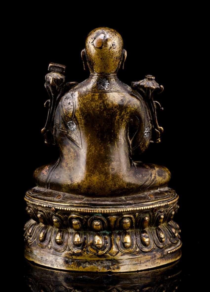 Rare silver copper inlaid Bronze of a Lama BSOD.NAMS.SENGE - photo 2