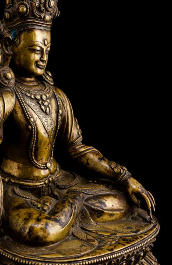 The founder of the Bon Religion, GSHEN.RAB.RNAM.PAR.RGYAL.PO, Bronze with silver deposits - photo 3