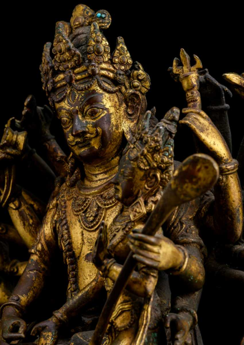 Lot 33  Rare fire gilt Bronze of Shiva and Parvati from the