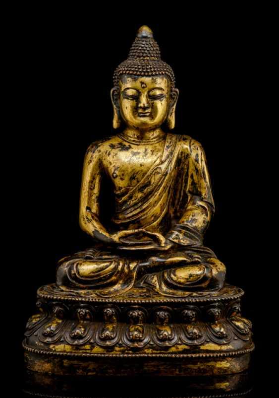 Feuervergoldete Bronze des Buddha Shakyamuni - photo 1