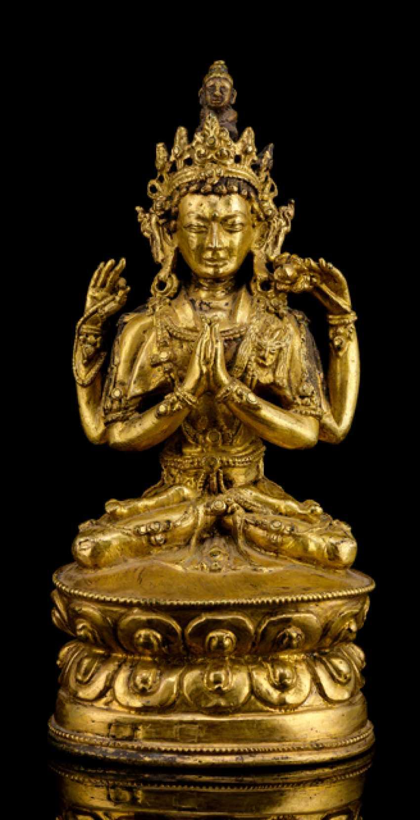 Fire-gilt Bronze of the SADAKSHARILOKESHVARA - photo 1