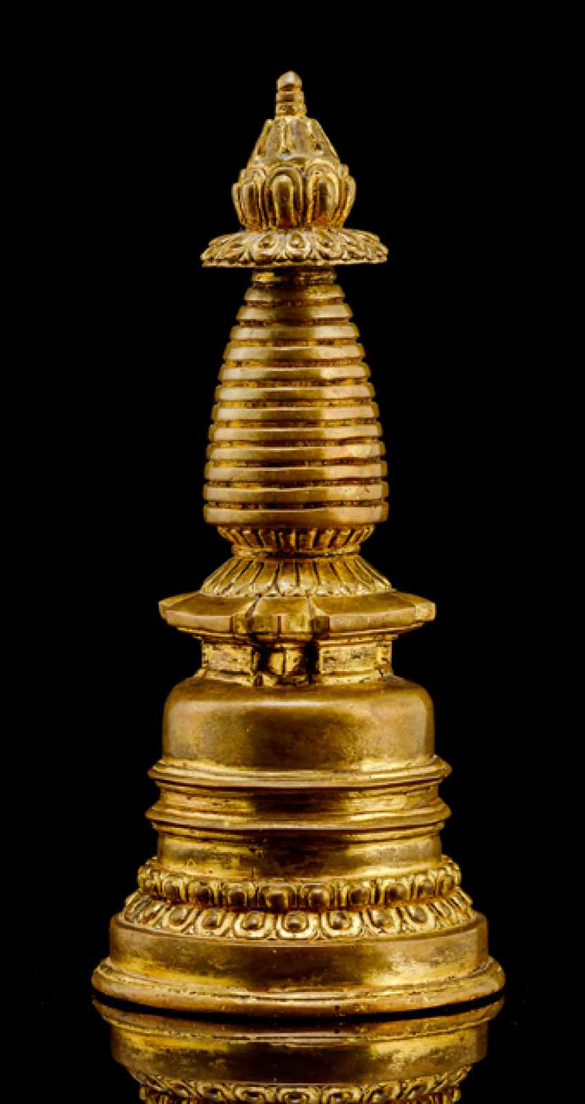 Fire-gilded Stupa made of Bronze - photo 1