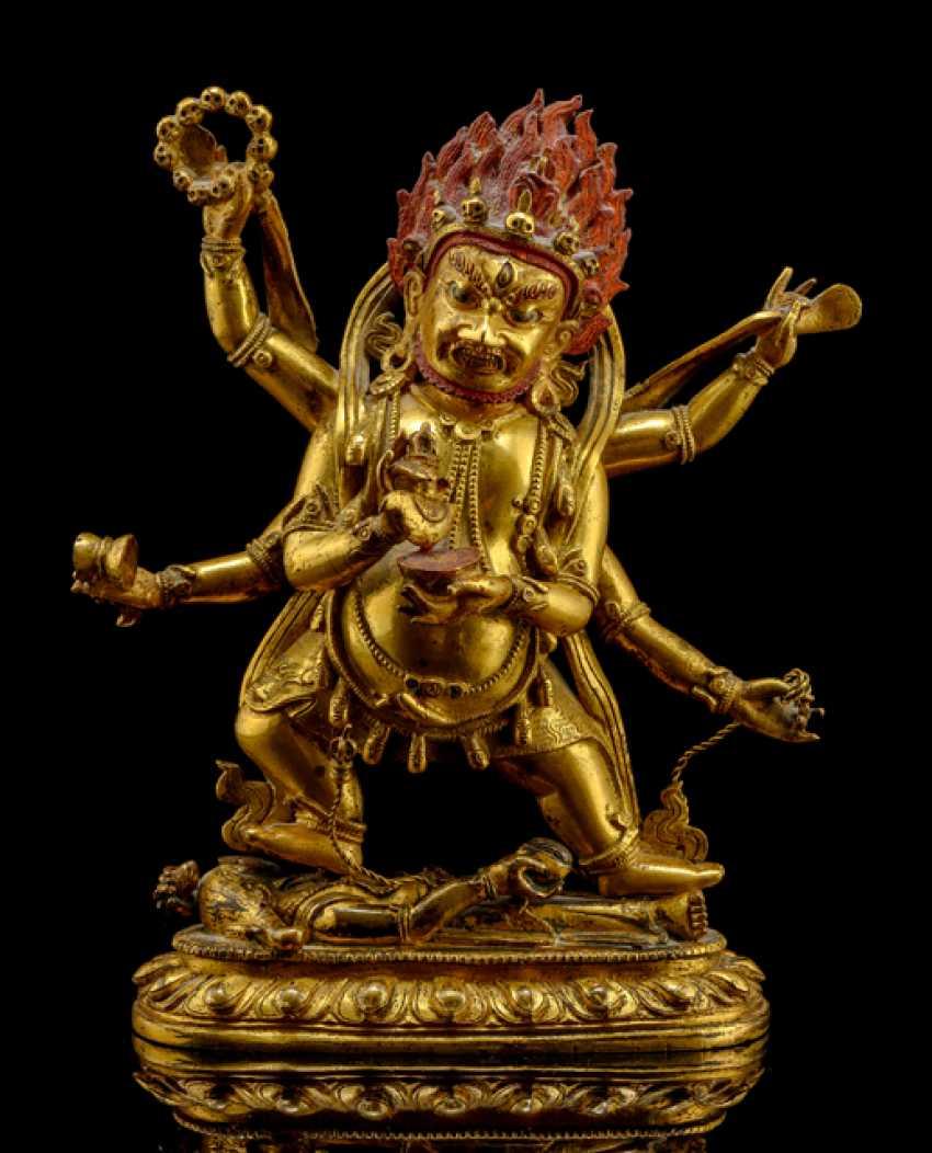 Feuervergoldete Bronze des SADBHUJAMAHAKALA - photo 1