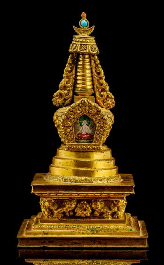 Fire veroldete Stupa made of Bronze with Tsagli of Amitayus - photo 1