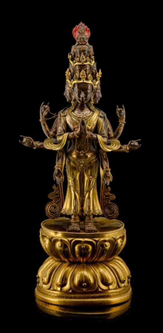 Partially fire-gilded-driven-and-cast figure of the ekadasha lokeshvara - photo 1