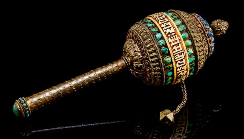Prayer wheel made of a silver alloy with stone and leg-to-Deposit - photo 1