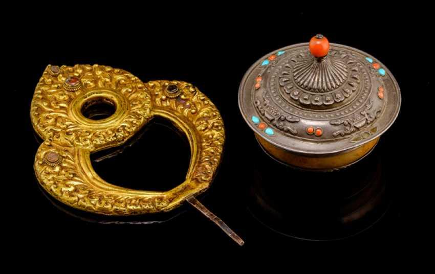 Fire gilded Mandorla and silver bowl - photo 1