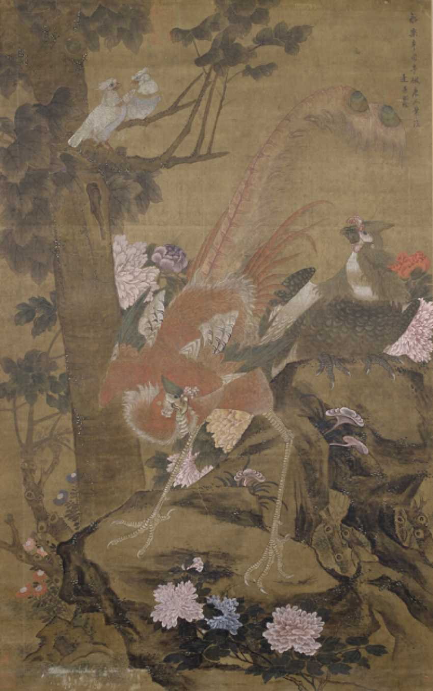 Couple of anonymous paintings of the crane couple and Phoenix parasol tree on silk, framed - photo 2