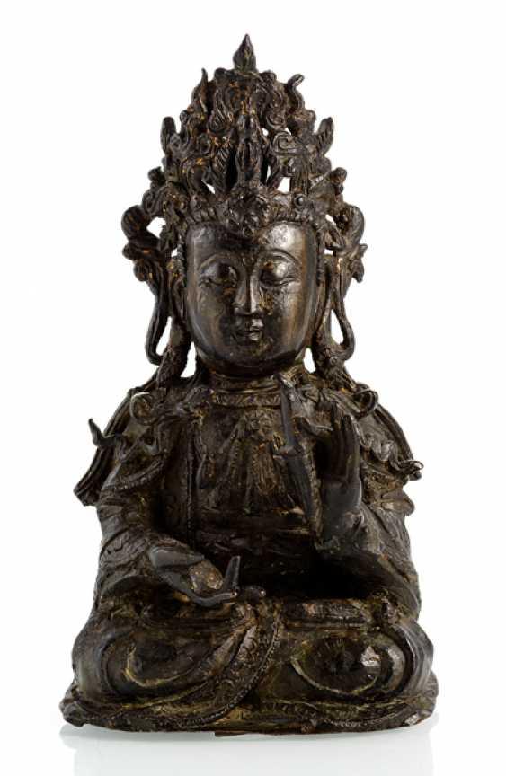 Bronze des Guanyin im Meditationssitz - photo 1