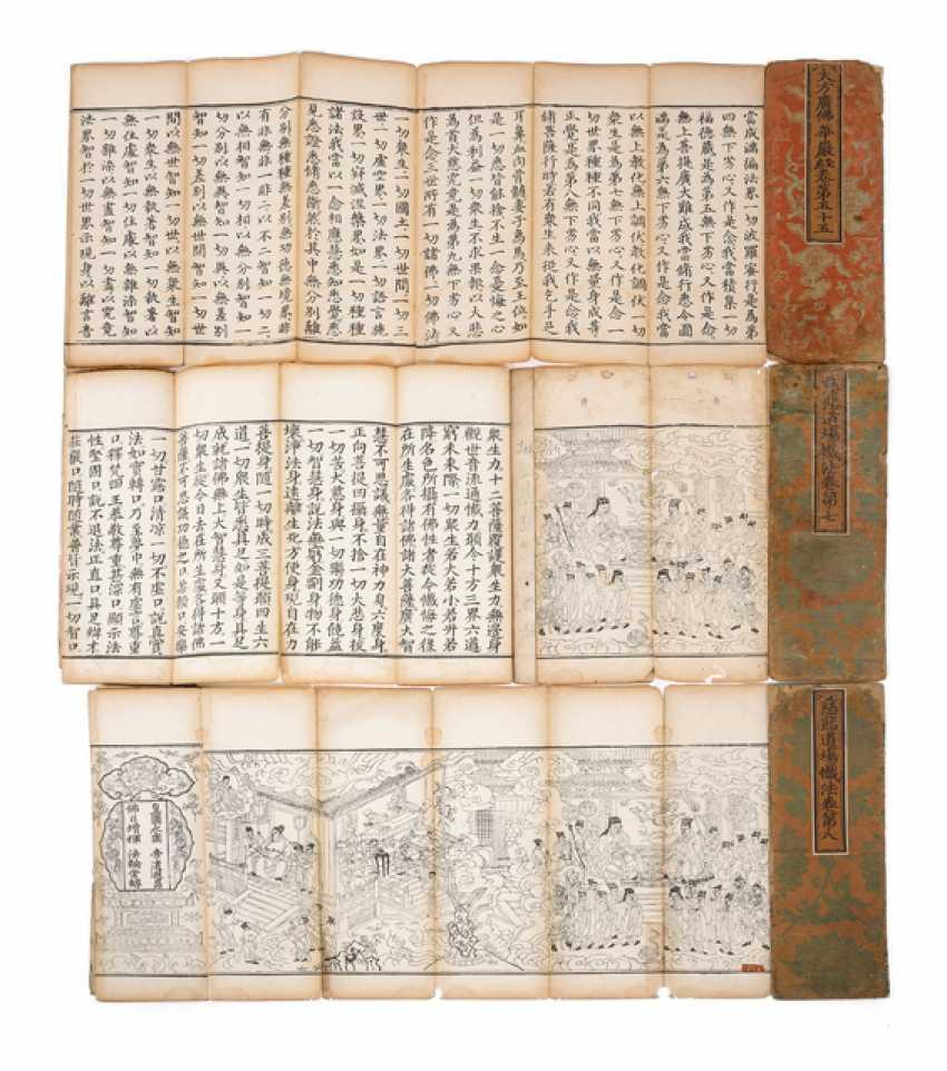 Three books with printed Buddhist sutras - photo 1