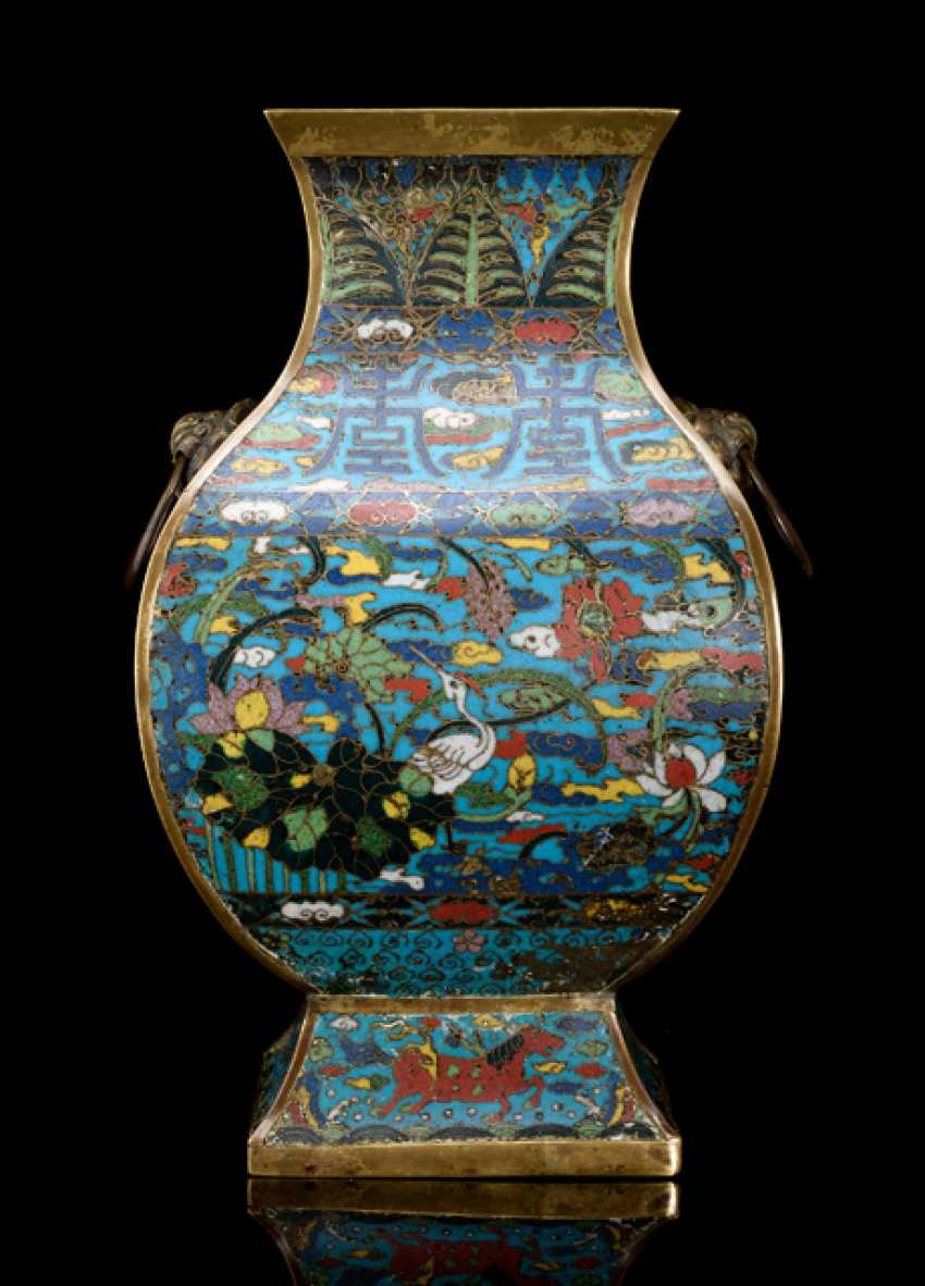 'Budding', with Cloisonne decoration of the 'longa' and shou in addition to animals, and Lotus - photo 1