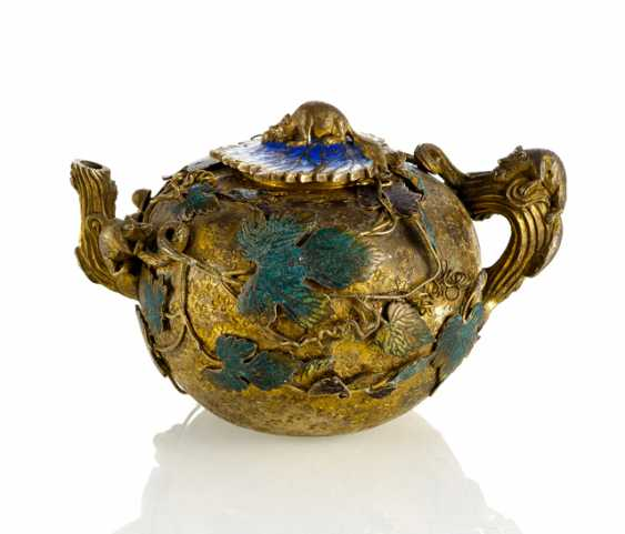 Wine jug is made of copper with Gold and silver plated, enamel decoration with vine leaves and squirrels - photo 1