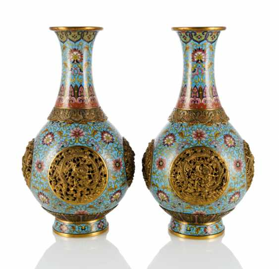 Pair of Cloisonné vases with four in a breakthrough carved dragon medallions - photo 1