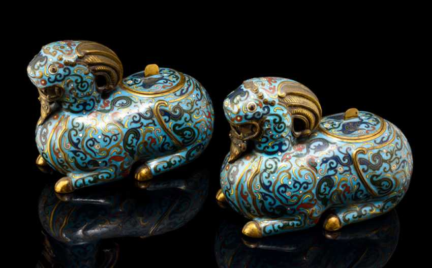 Couple lying Cloisonne aladin previewer as incense bain, partially fire gilded - photo 1