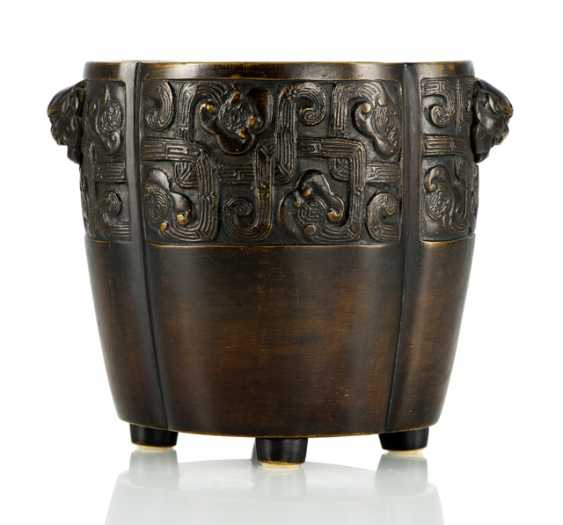Incense burner from Bronze in archaic style decorated - photo 1