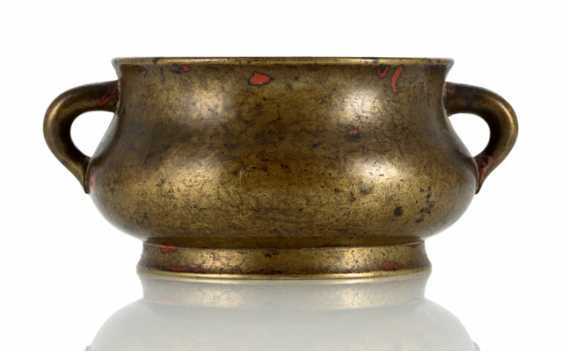 Incense burner, Bronze, with partially red patination - photo 1