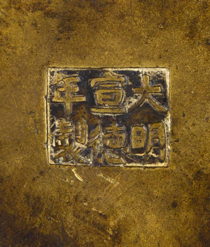 Incense burner, Bronze with crane decoration on three Ruyi feet - photo 2