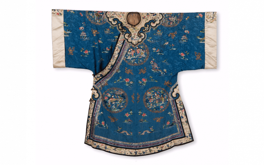 Jacket of woman in blue silk and beige China - End of the Nineteenth century - photo 1