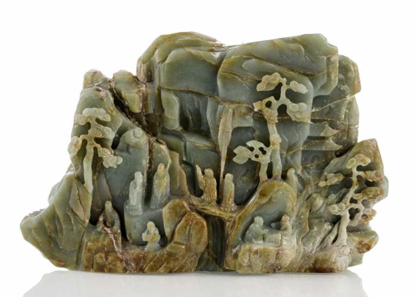 Large rocks made of Jade with scholars, pine, herons and deer - photo 1