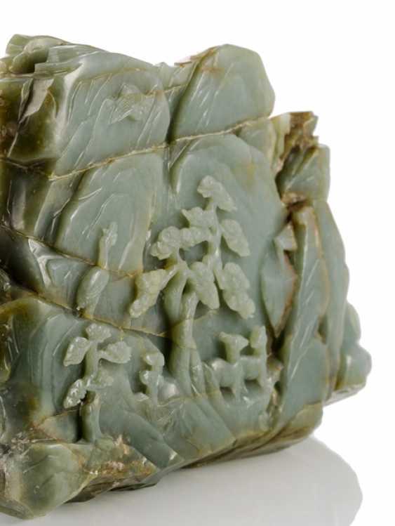 Large rocks made of Jade with scholars, pine, herons and deer - photo 2