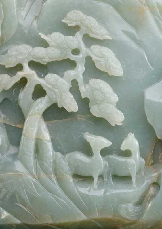 Large rocks made of Jade with scholars, pine, herons and deer - photo 3