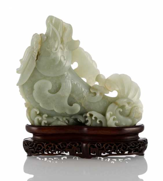 Vase made of pale, celadon colored Jade in the Form of a 'dragon carp' - photo 1