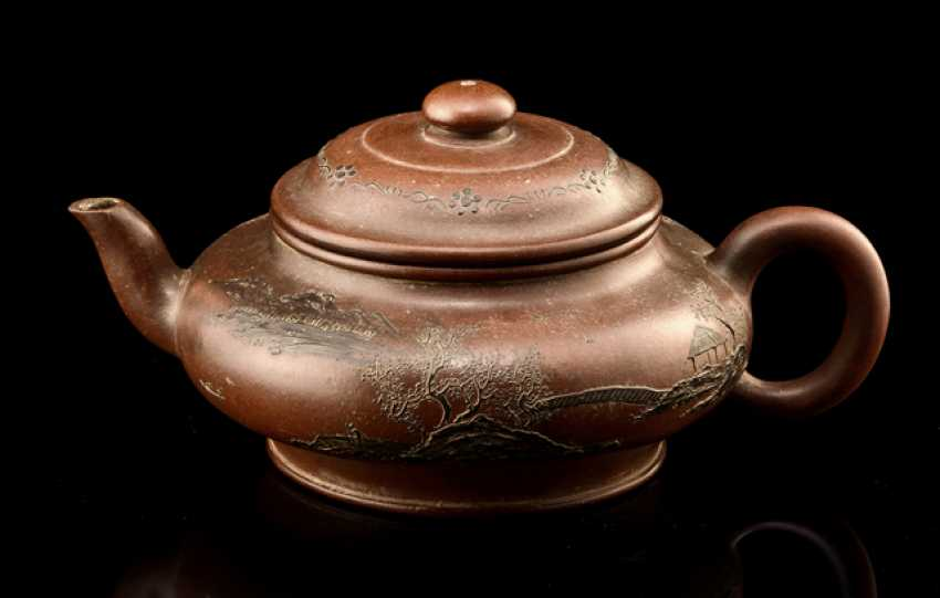 Zisha teapot with applied landscape decoration and flower branches - photo 1