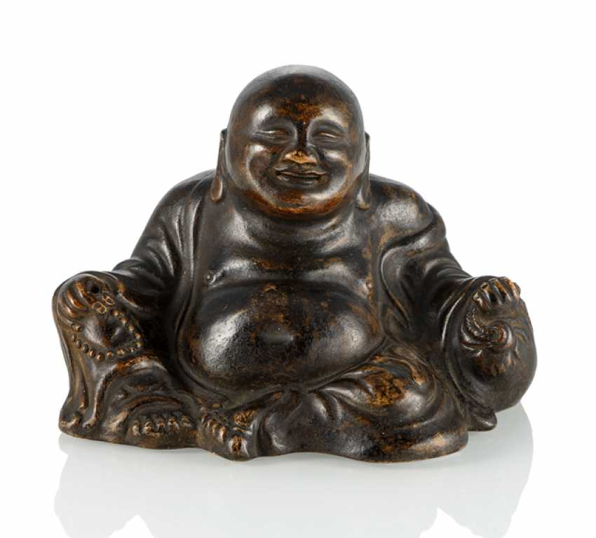 Budai brown glazed Biscuit porcelain seated - photo 1