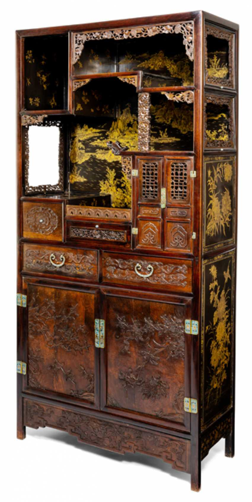 Some fine cabinets made of various Woods with Cloisonne fittings - photo 1