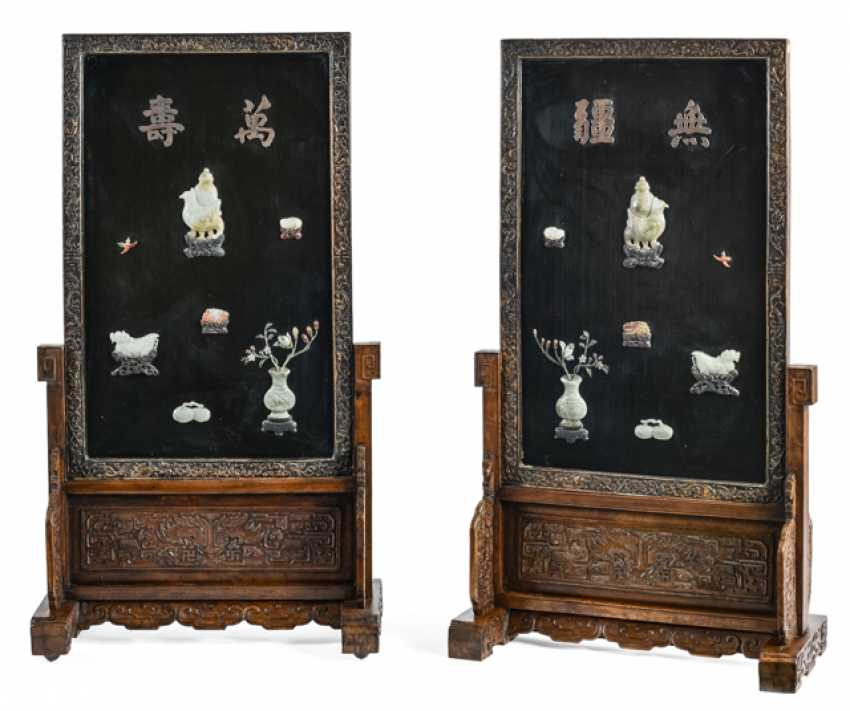 Pair of hard wood and wood-adjusting screens with various inlays, including Jade, lacquer, rear - photo 1