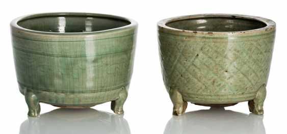 Two three-legged incense burner with celadon glaze - photo 1