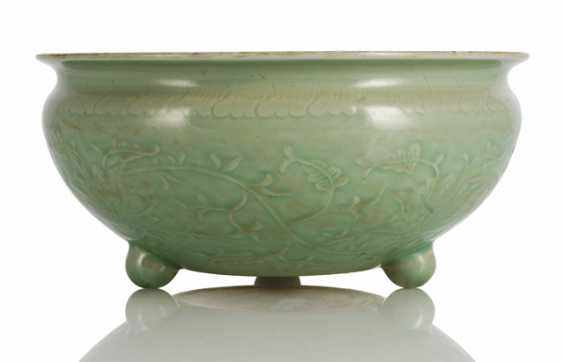 Celadon-glazed incense burner on three short legs with Lotus decoration - photo 1