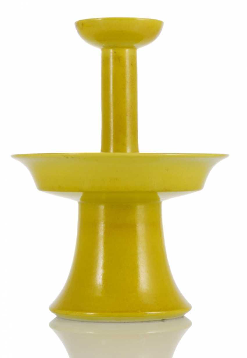 Two-tiered candlesticks with lemon yellow glaze - photo 2