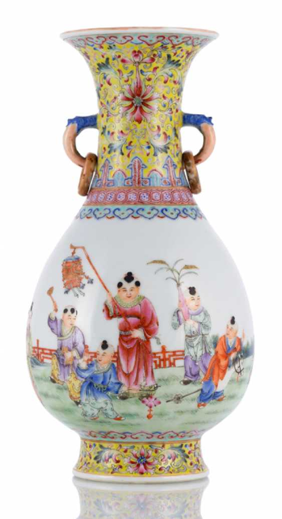 A 'Famille-rose'bottle vase with children at play, and the poem inscription - photo 1