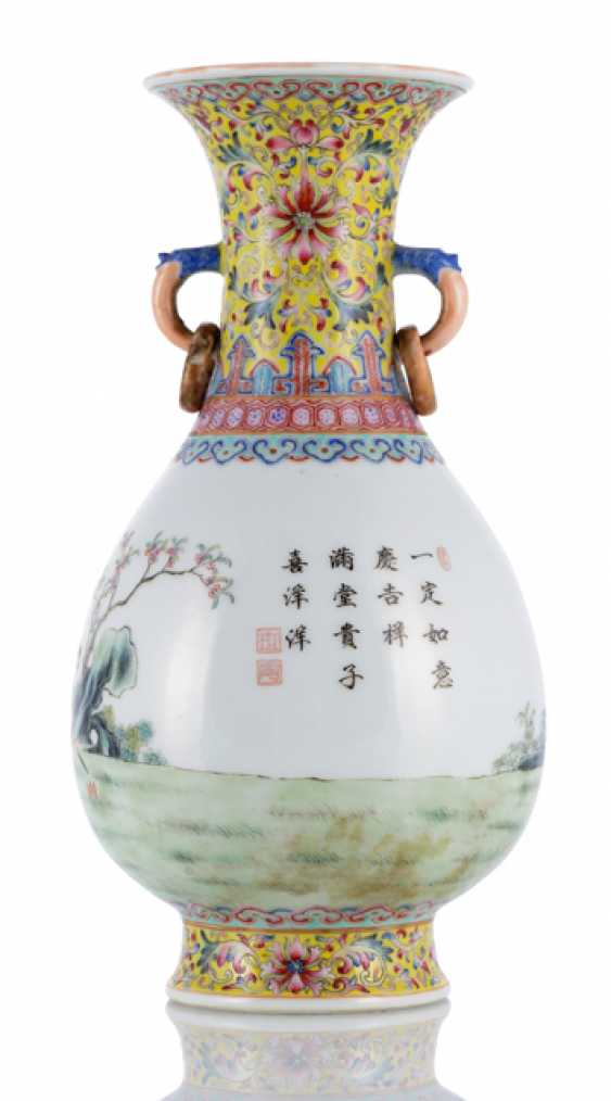 A 'Famille-rose'bottle vase with children at play, and the poem inscription - photo 2