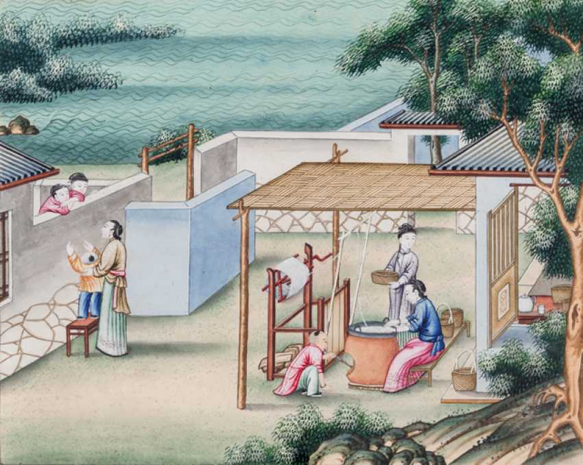 Ten paintings from the series of the silk manufacture - photo 2