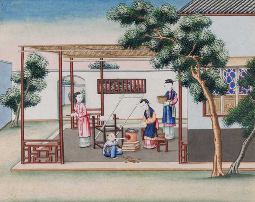 Ten paintings from the series of the silk manufacture - photo 5