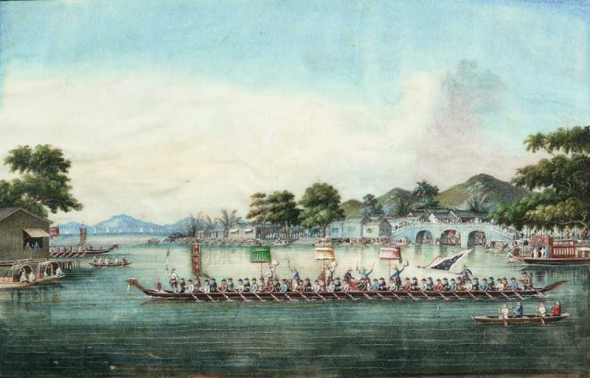 Two fine Rice paper paintings: the harbour view and Race with dragon boats - photo 1